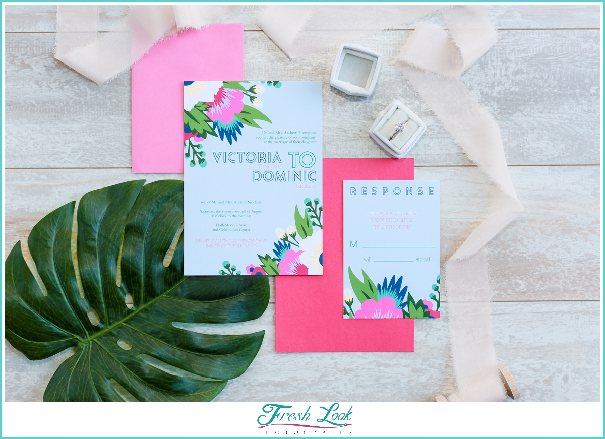 tropical Hawaii wedding invitations