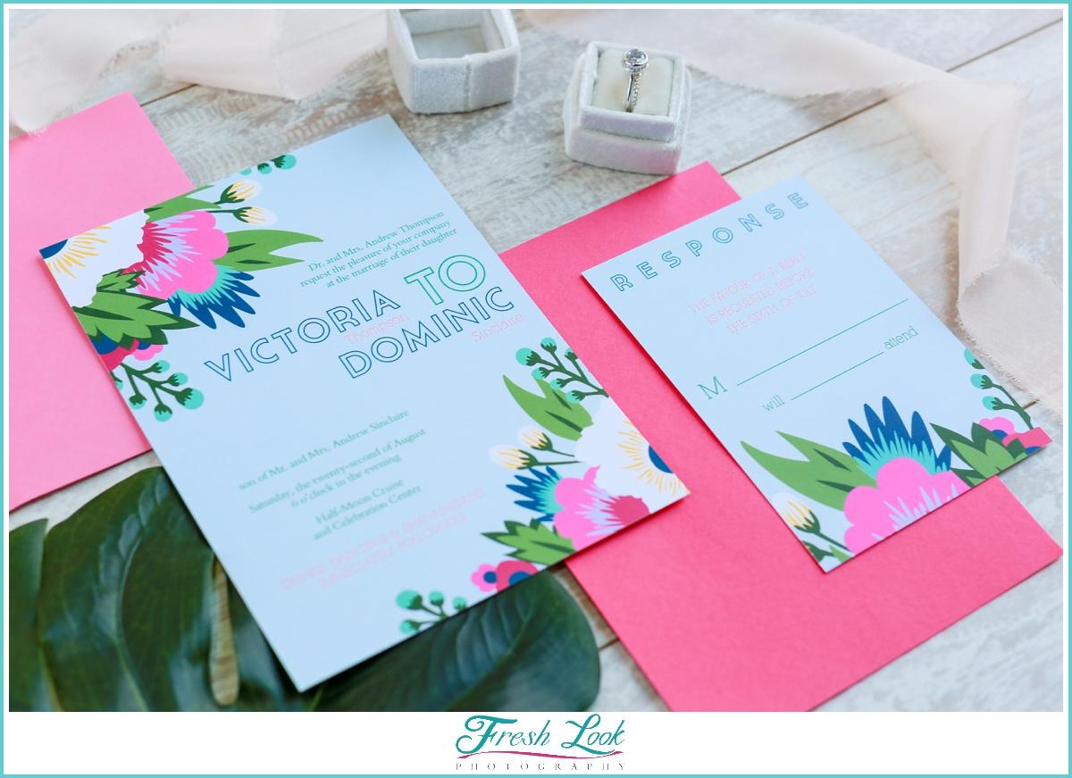 Hawaiian themed wedding invitation