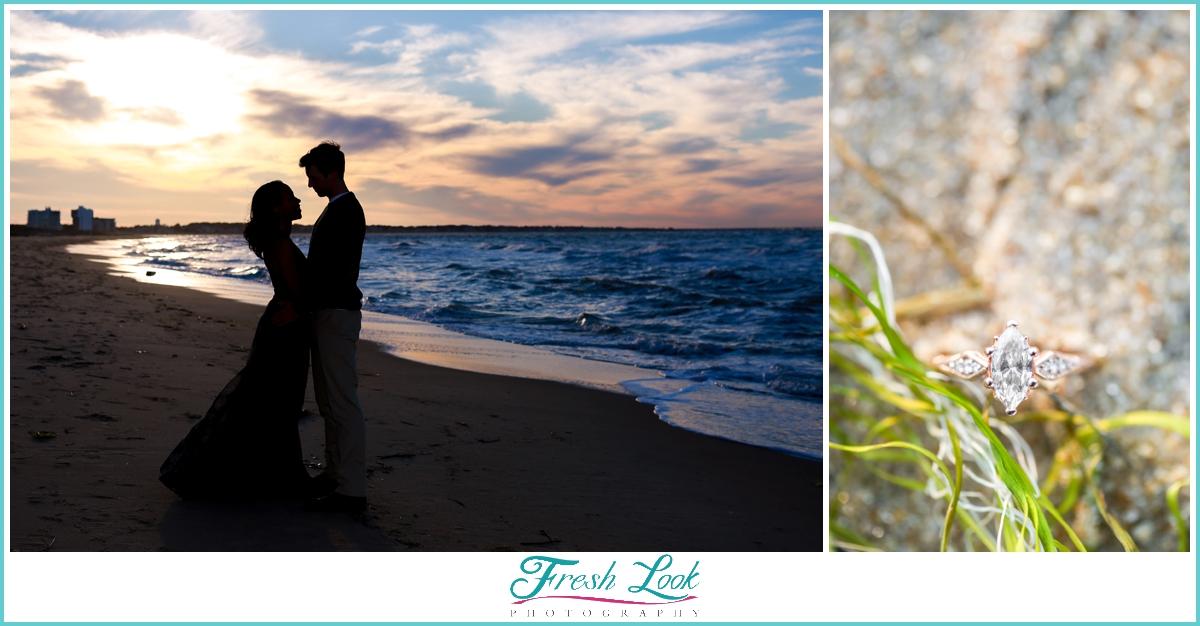 beach sunset engagement shoot