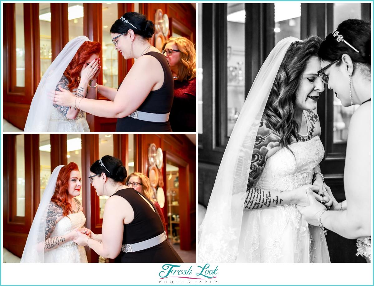 emotional bride before the wedding