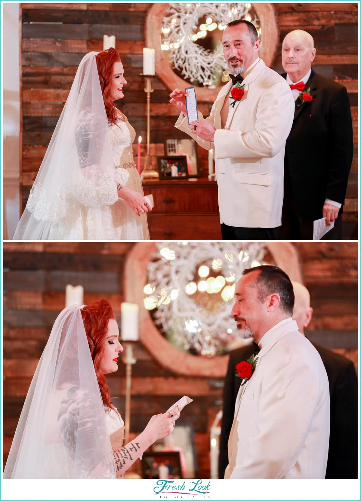 bride and groom reading vows