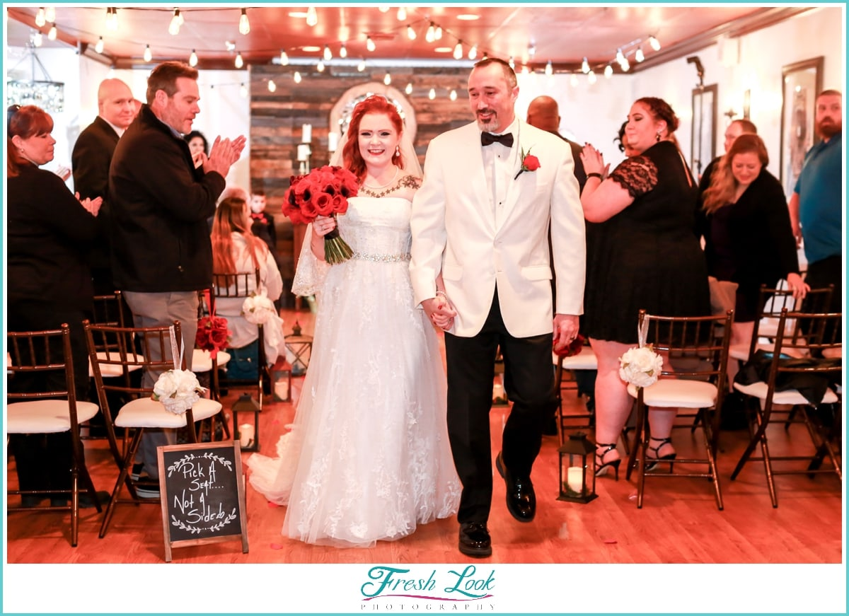 just married bride and groom