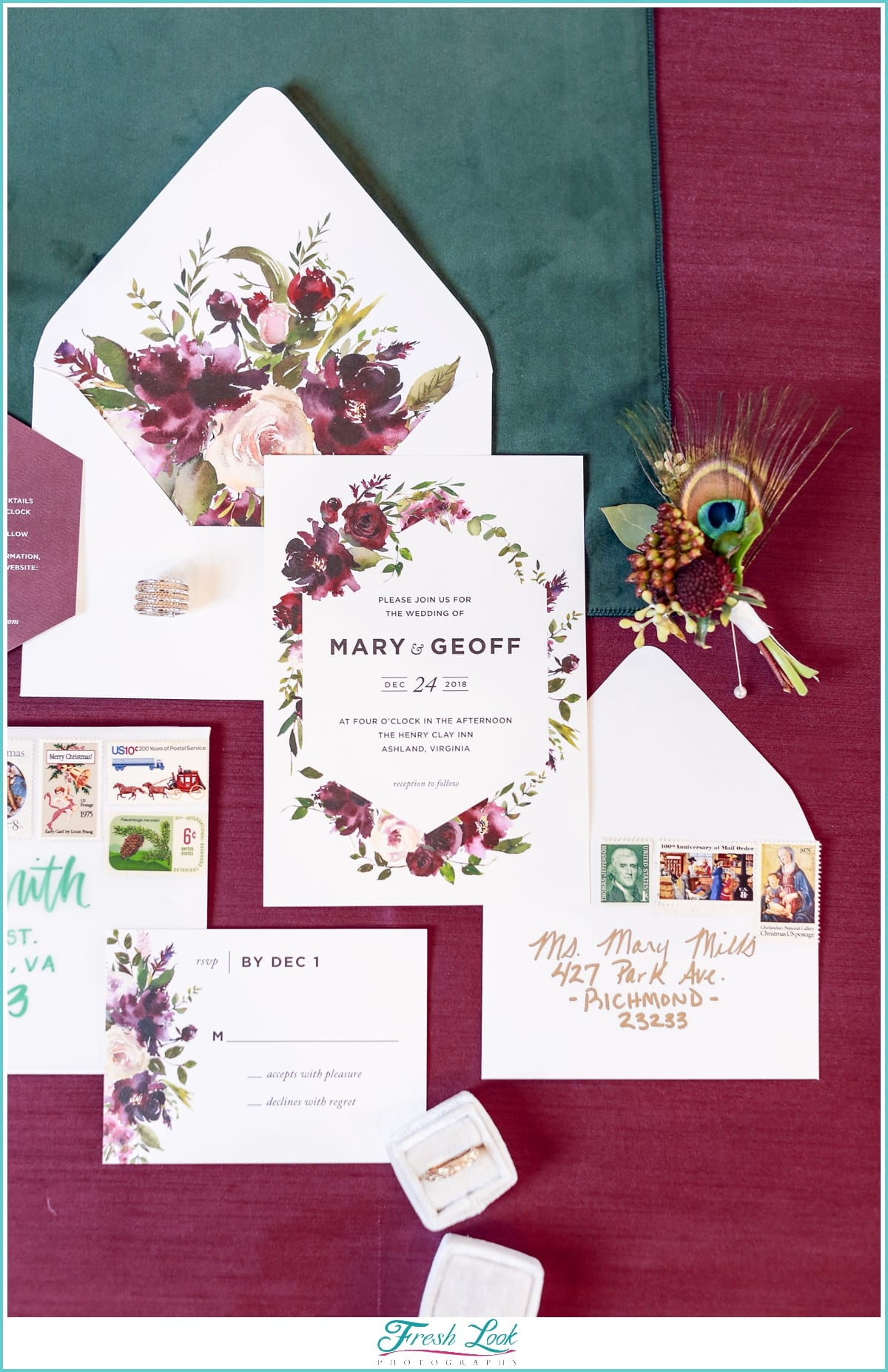 eggplant and emerald wedding invitations