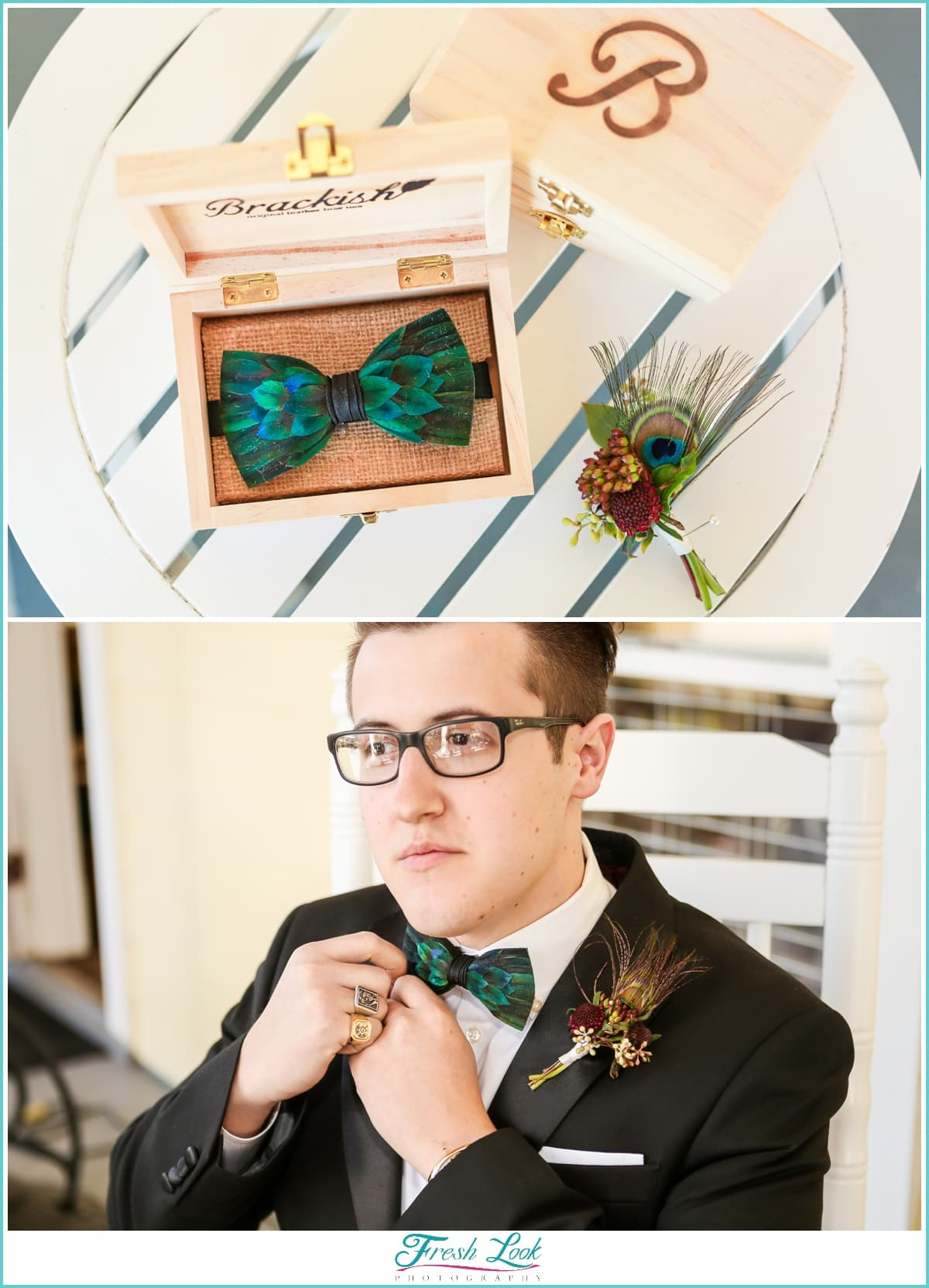 groom putting on Brackish bowtie