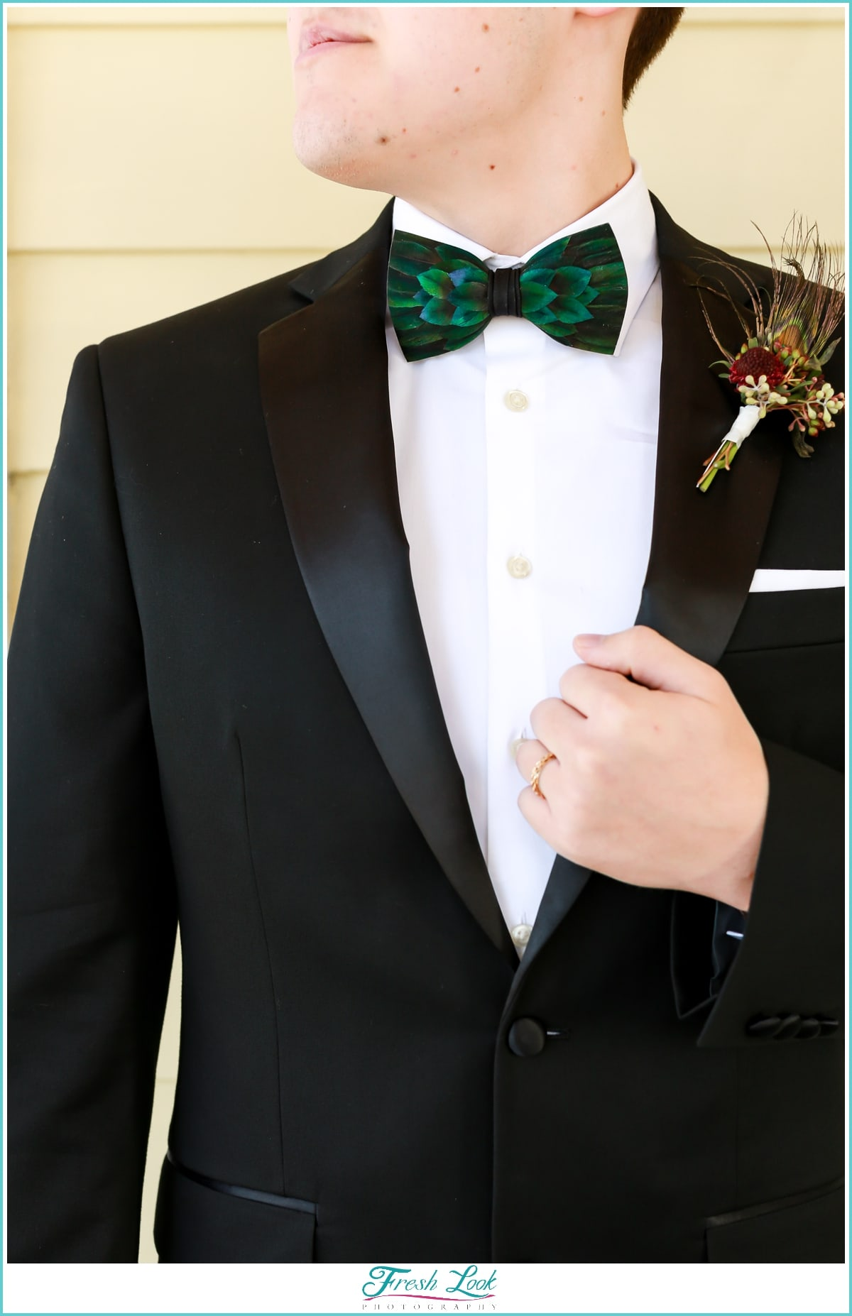bowtie and boutonniere details