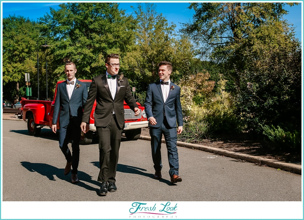 groom and groomsmen walking together