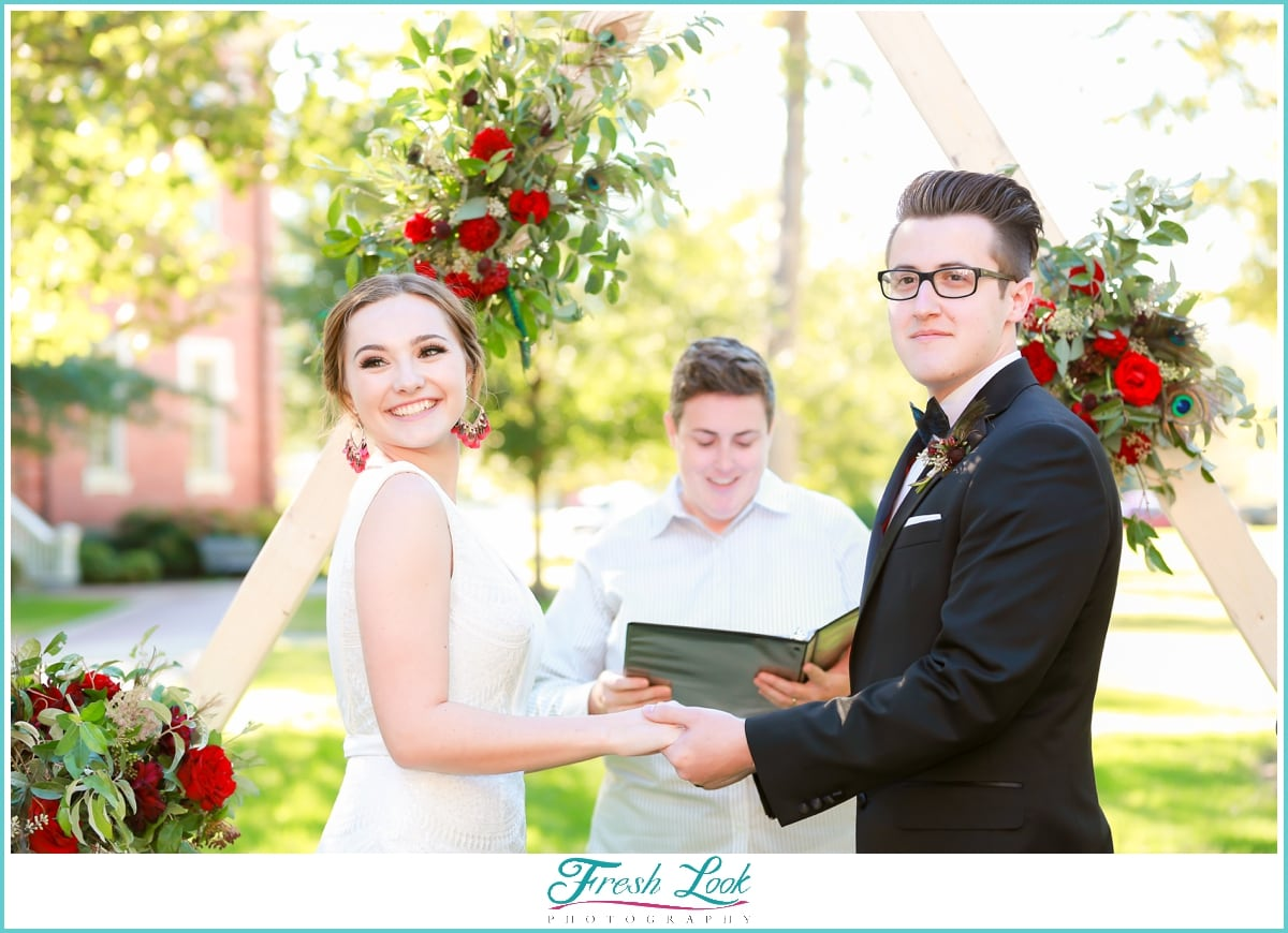 joyful bride and groom wedding ceremony