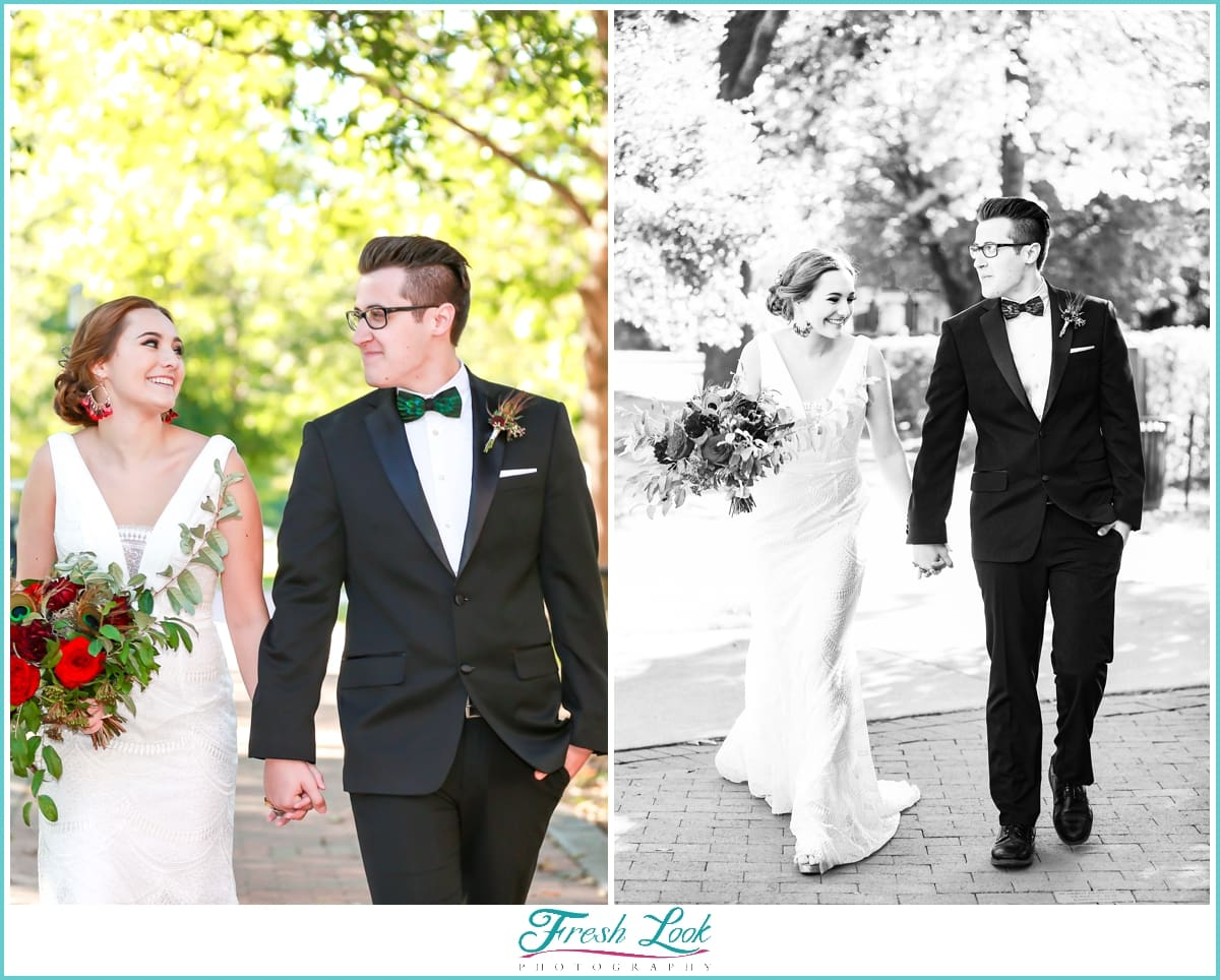 romantic walk with bride and groom