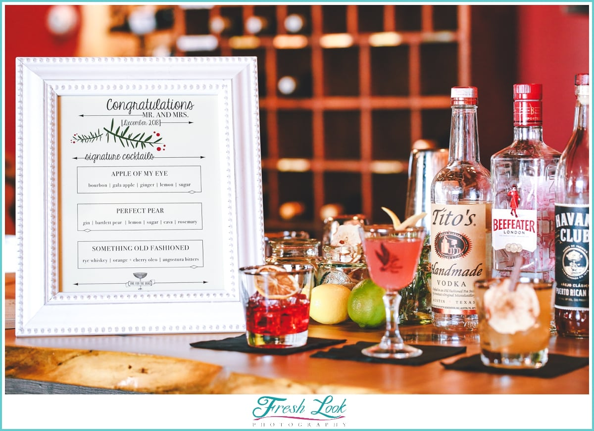 wedding reception drink menu