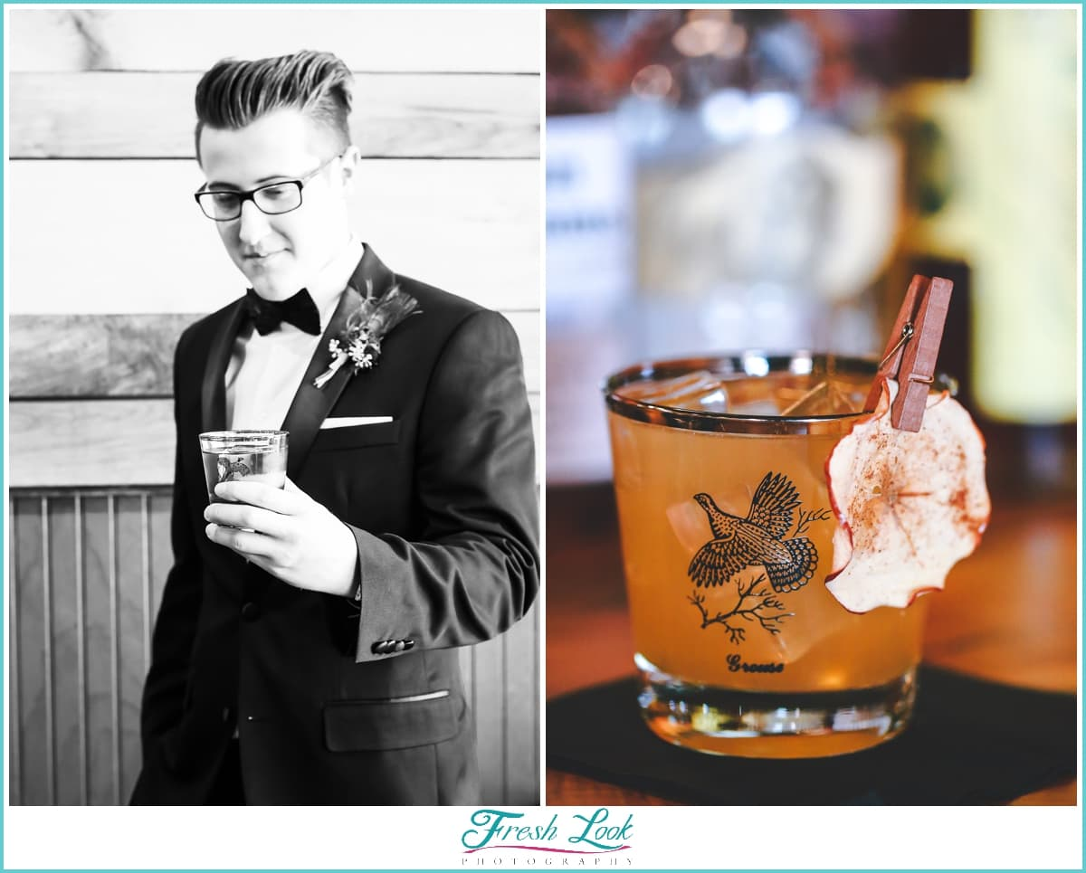 grooms drink old-fashioned