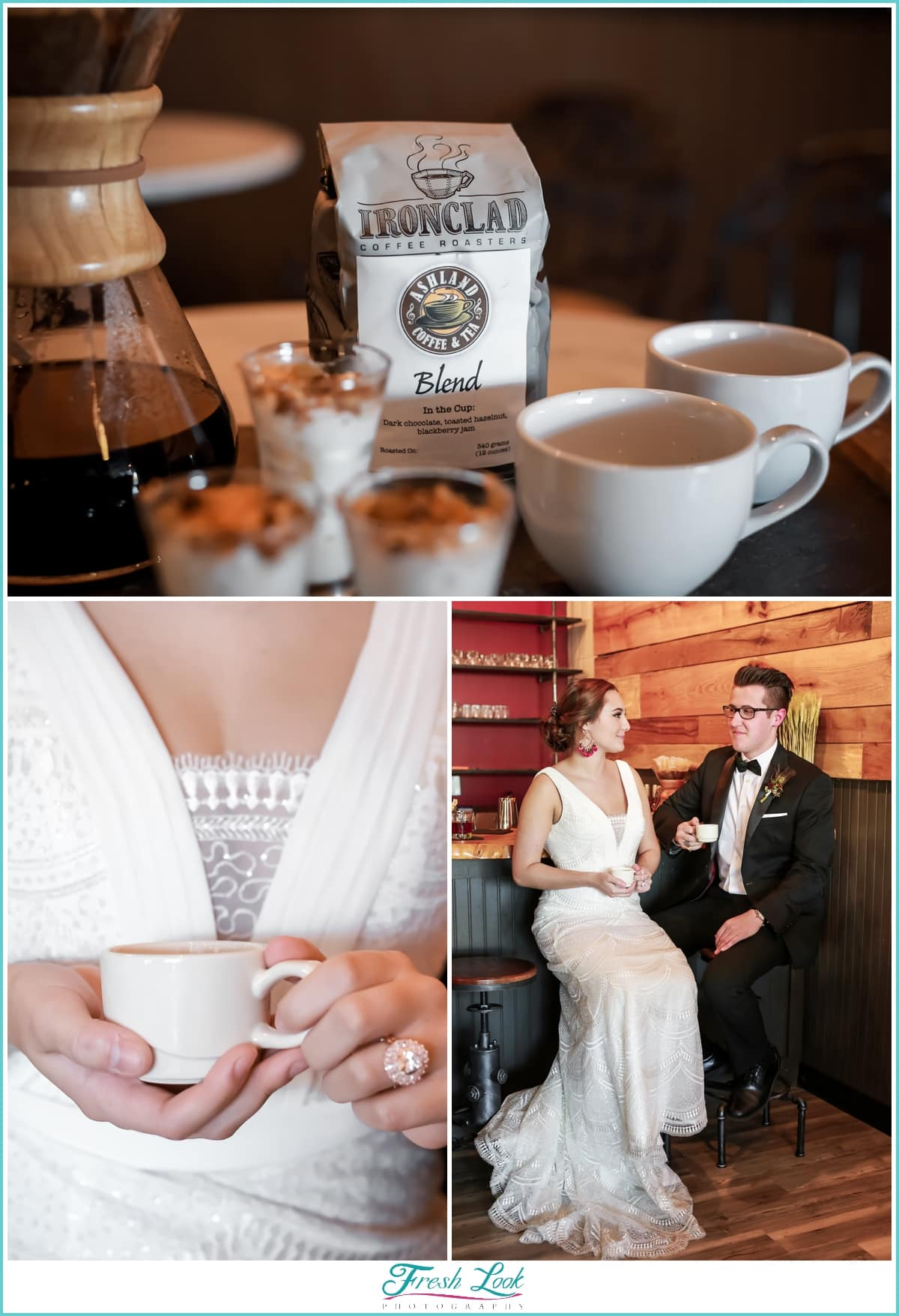 bride and groom coffee bar at wedding