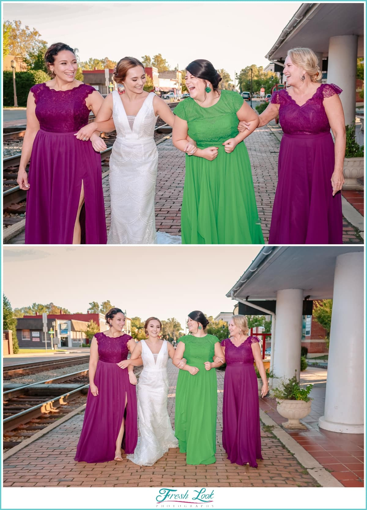 bride and bridesmaids fun portraits
