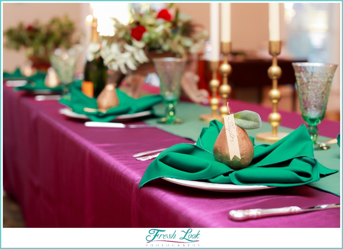 eggplant and emerald reception decor