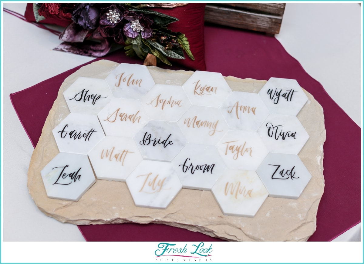 unique calligraphy escort cards