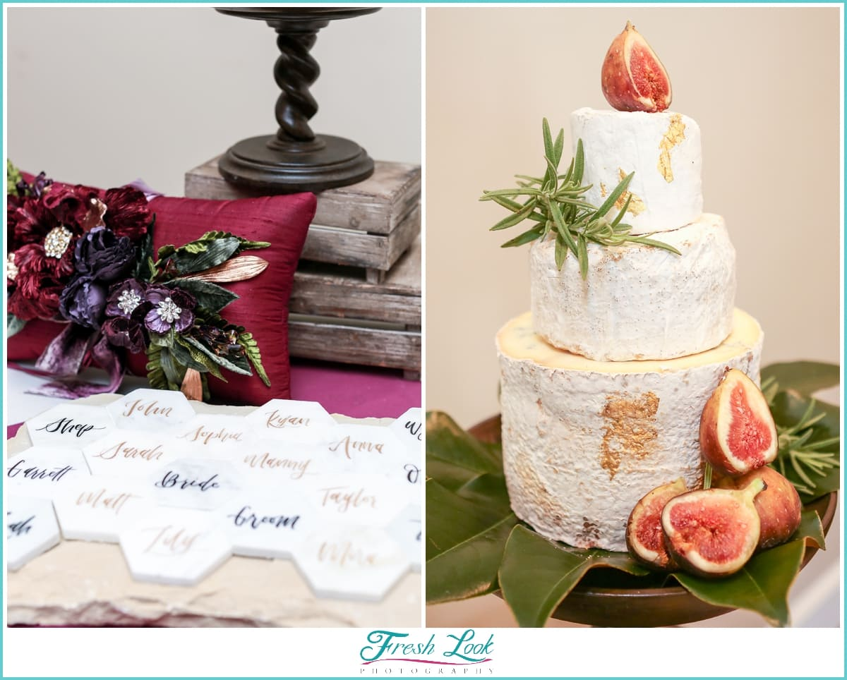 wedding reception cake and escort cards