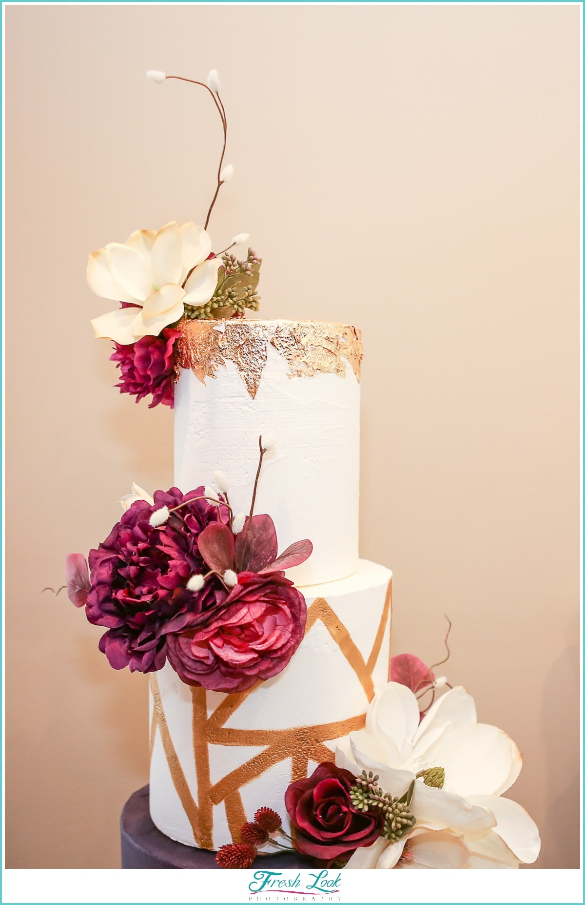 handcrafted sugar flowers on wedding cake