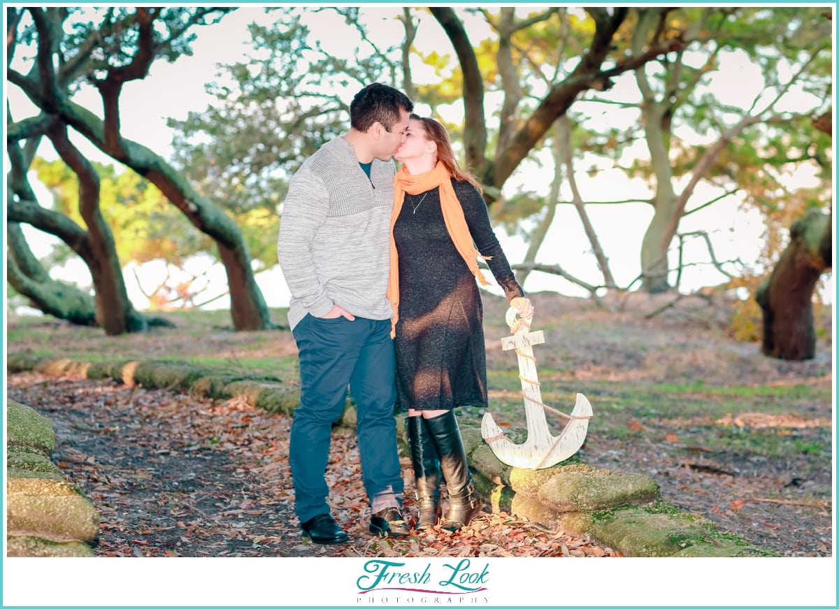 romantic engagement session in the woods