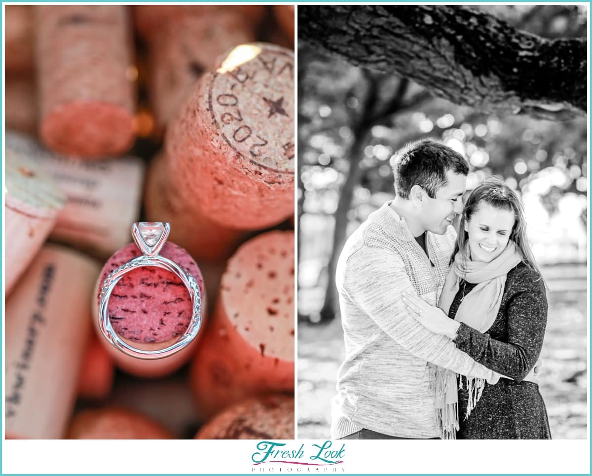 engagement ring and wine corks