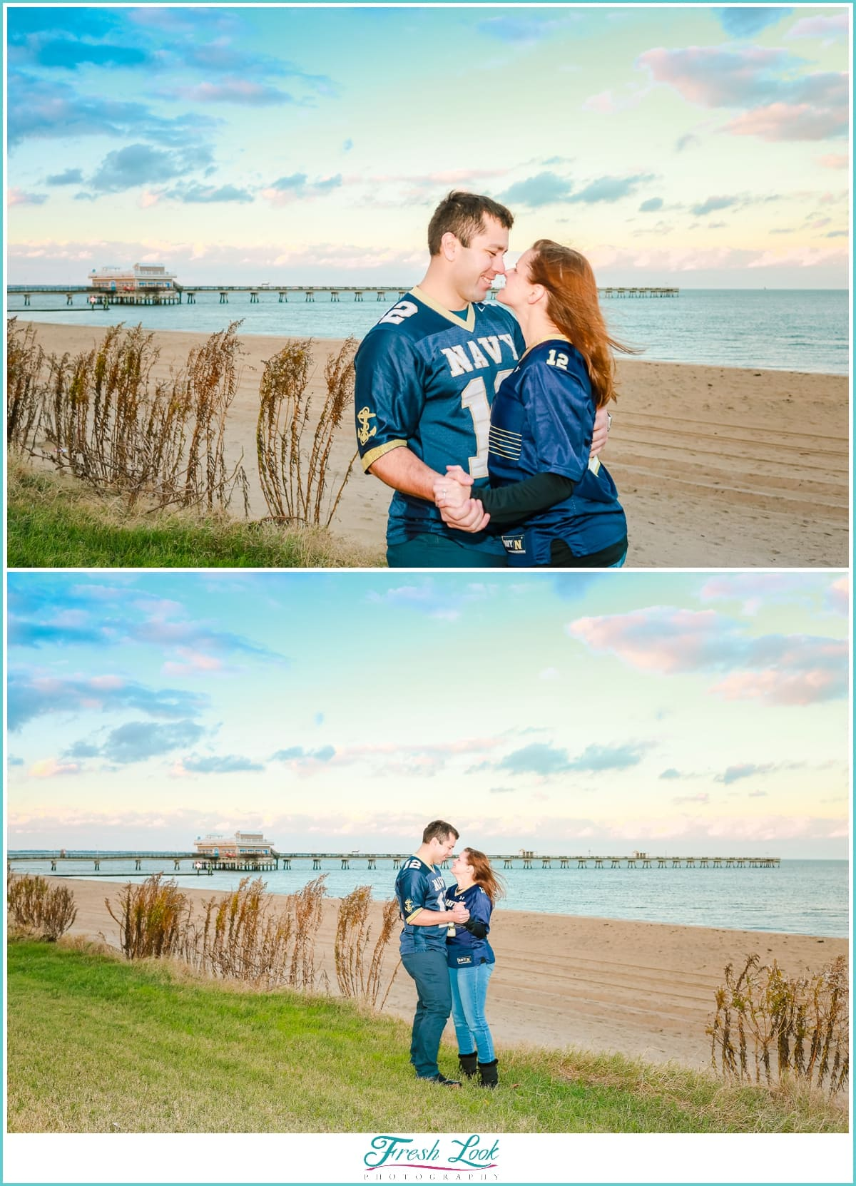 beach engagement photo shoot