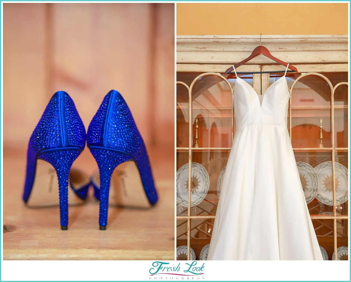 Wedding Dress and Blue Heels