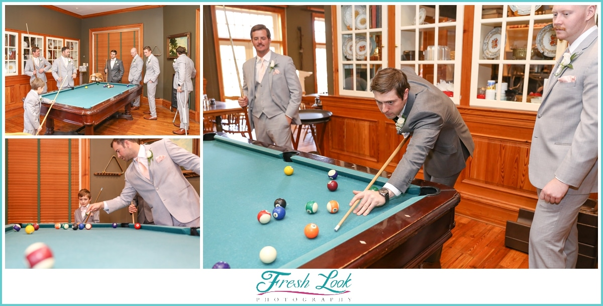 groom playing pool