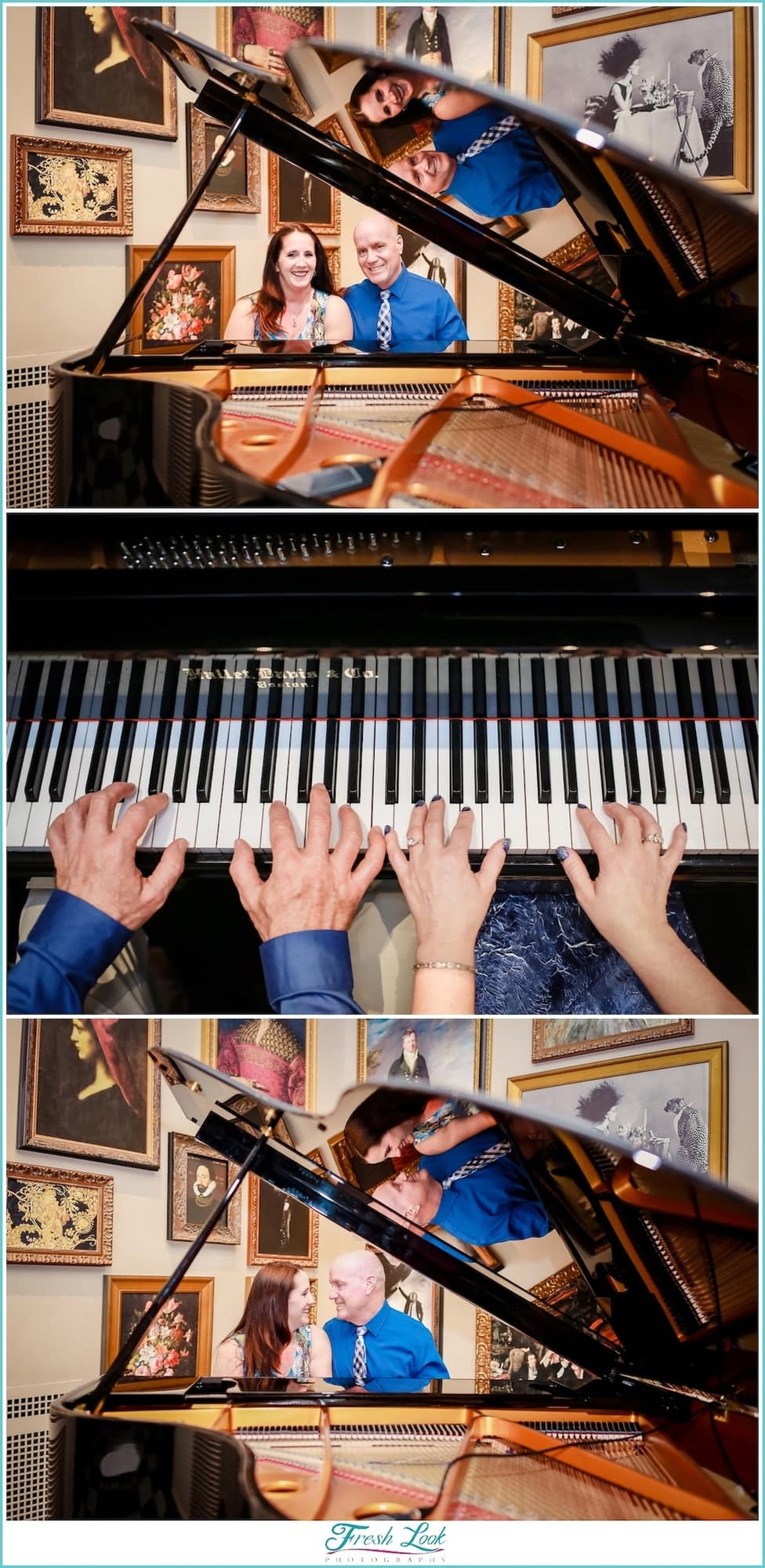 Engagement shoot with a piano