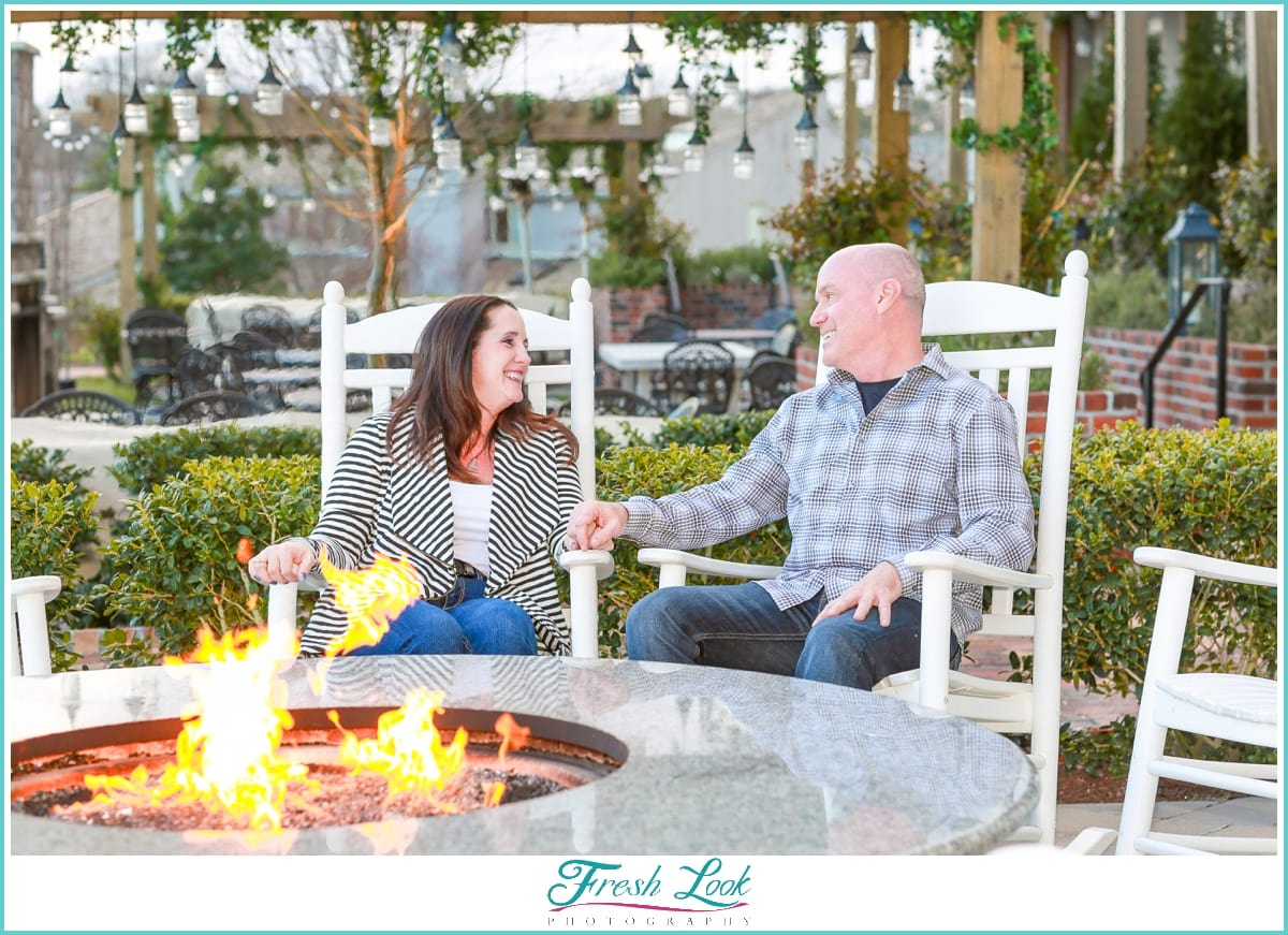 engagement photos by the fire