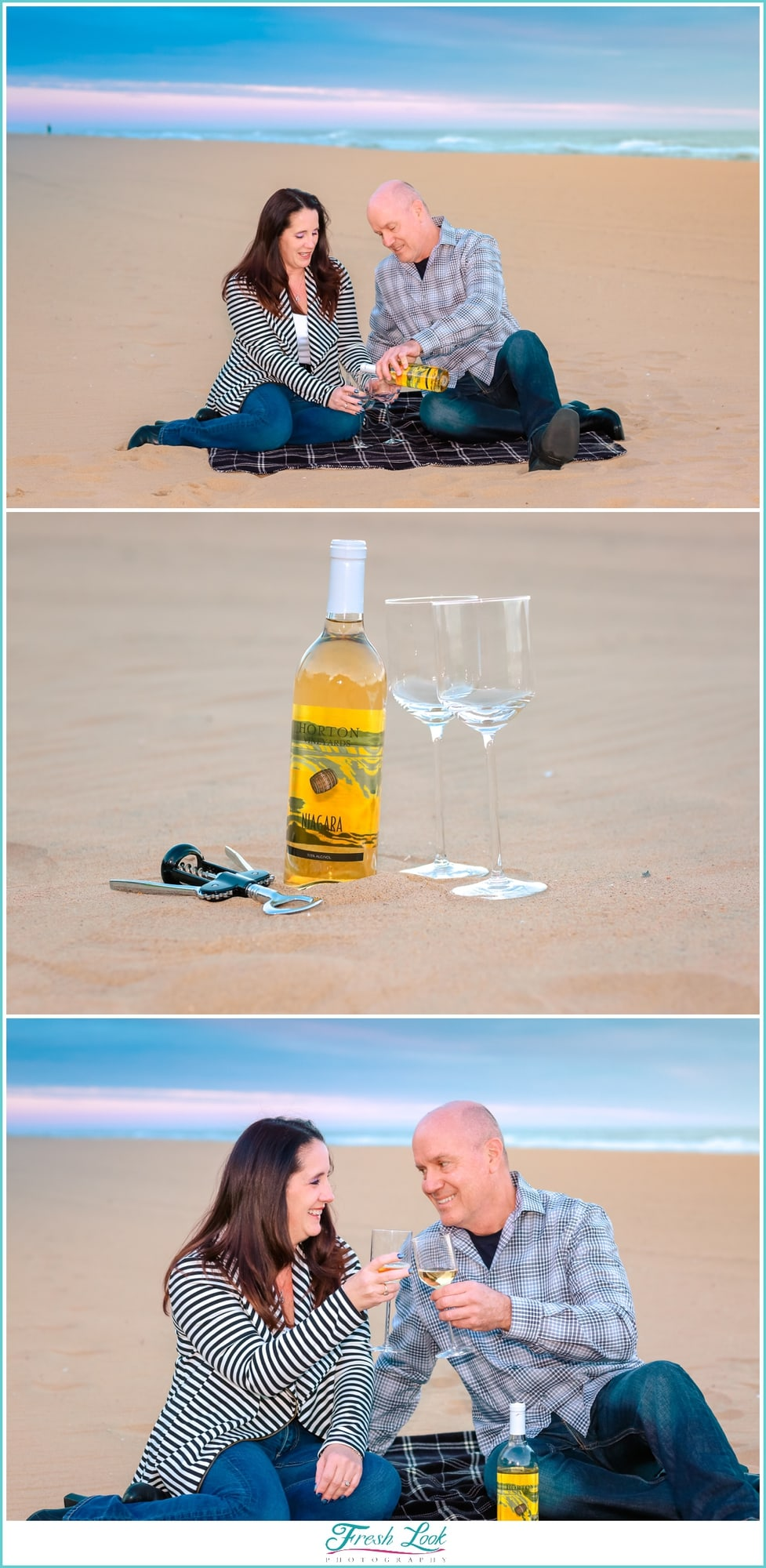 drinking wine on the beach