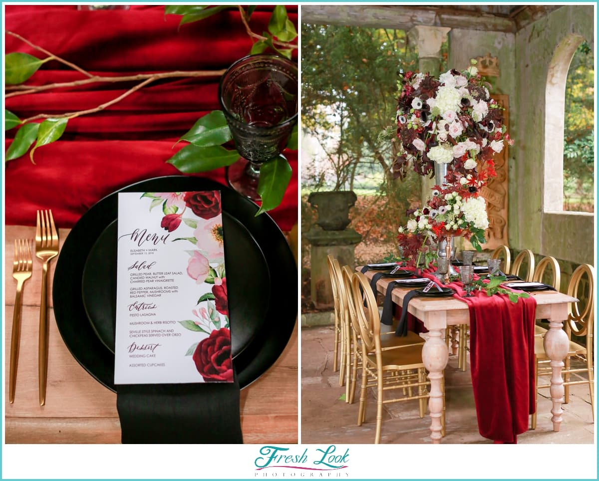 red and black wedding reception