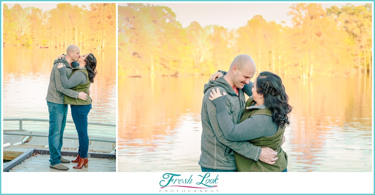 fall engagement session with orange leaves