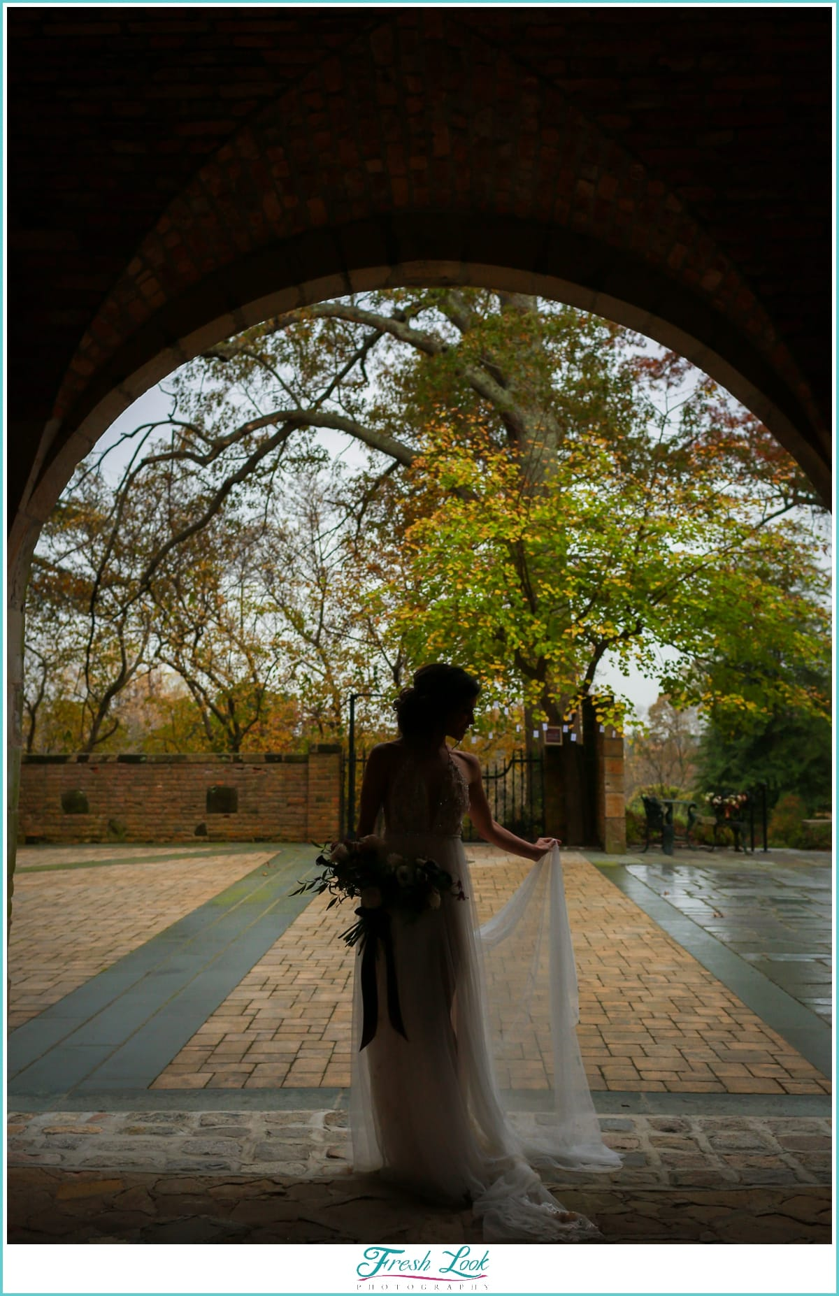 Bride Silhouette against the rain
