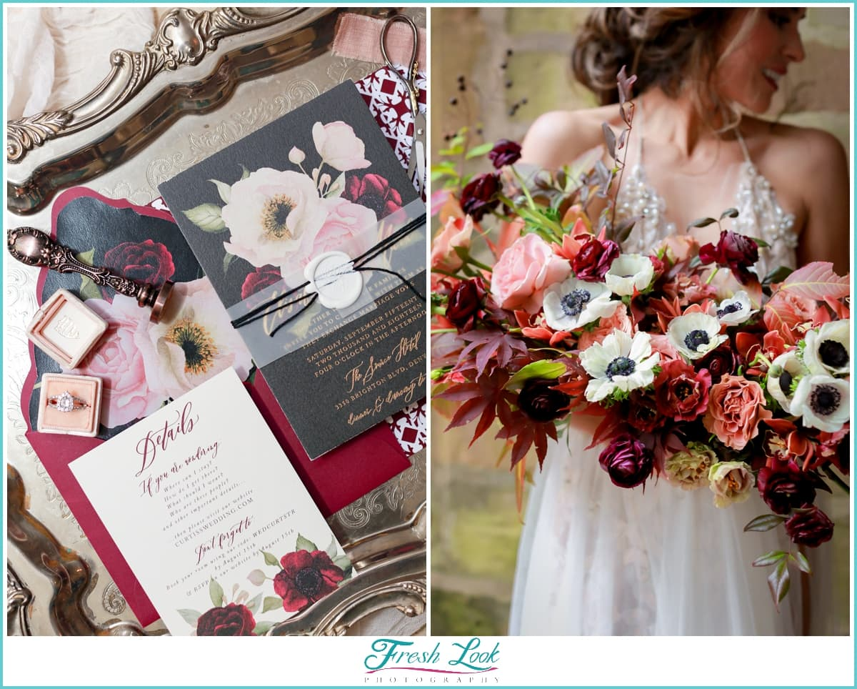 bridal bouquet and wedding invitations