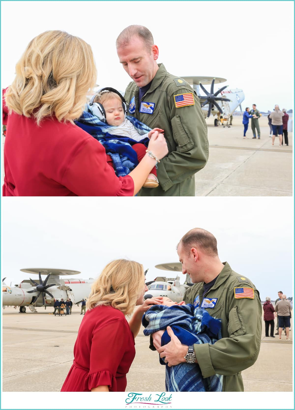 snuggling the baby after deployment