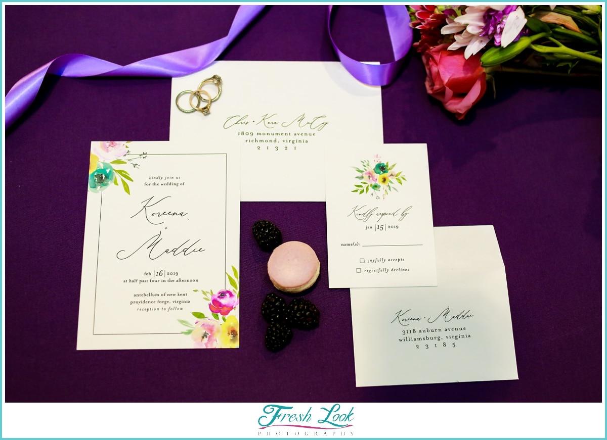 purple wedding stationery set