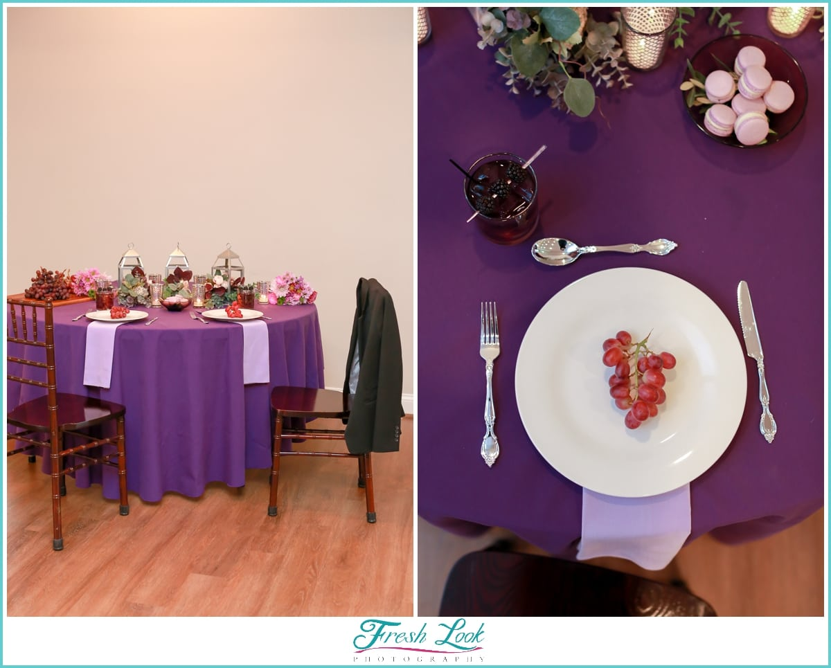 purple themed sweetheart table