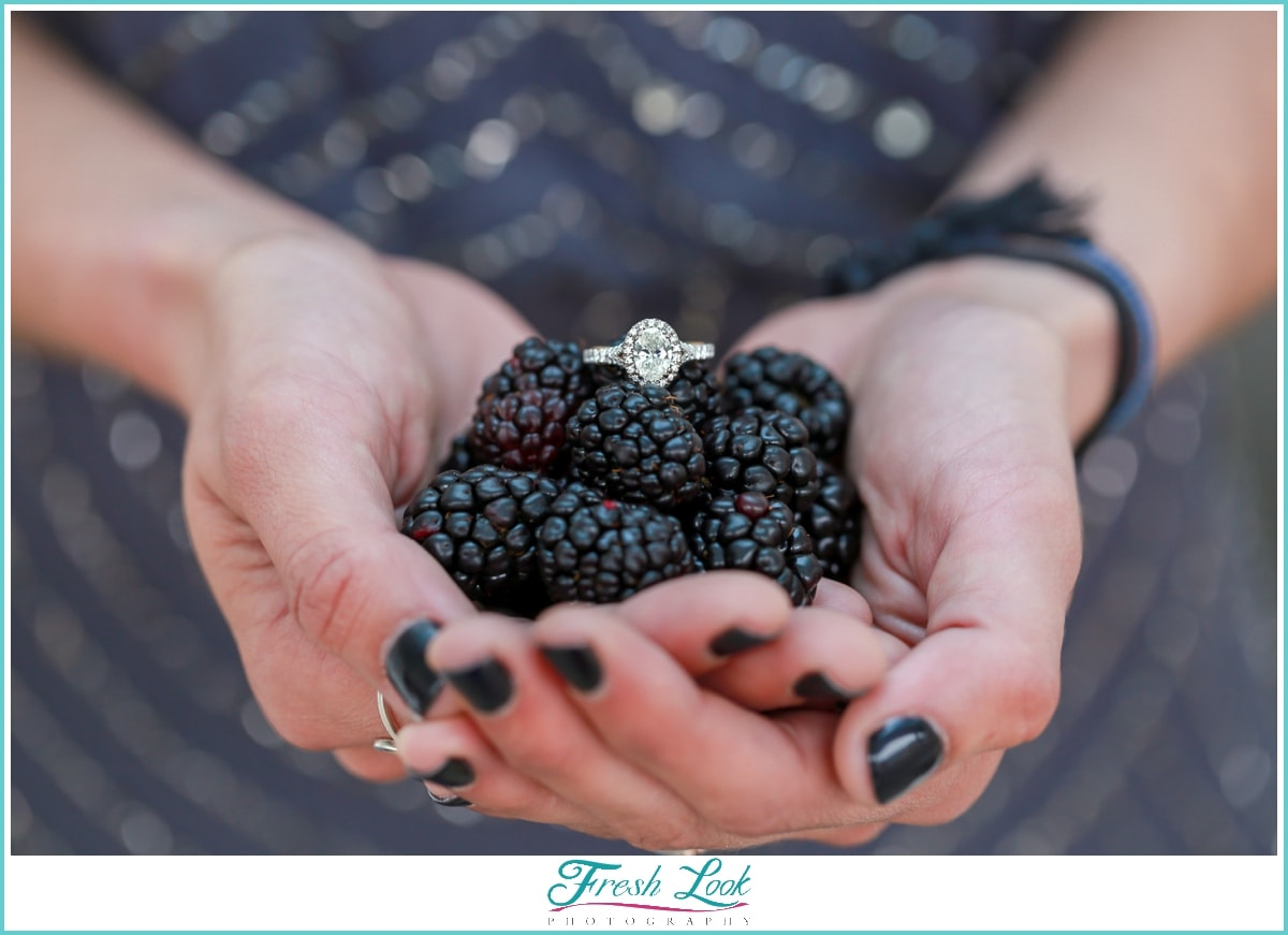 engagement ring and blackberries