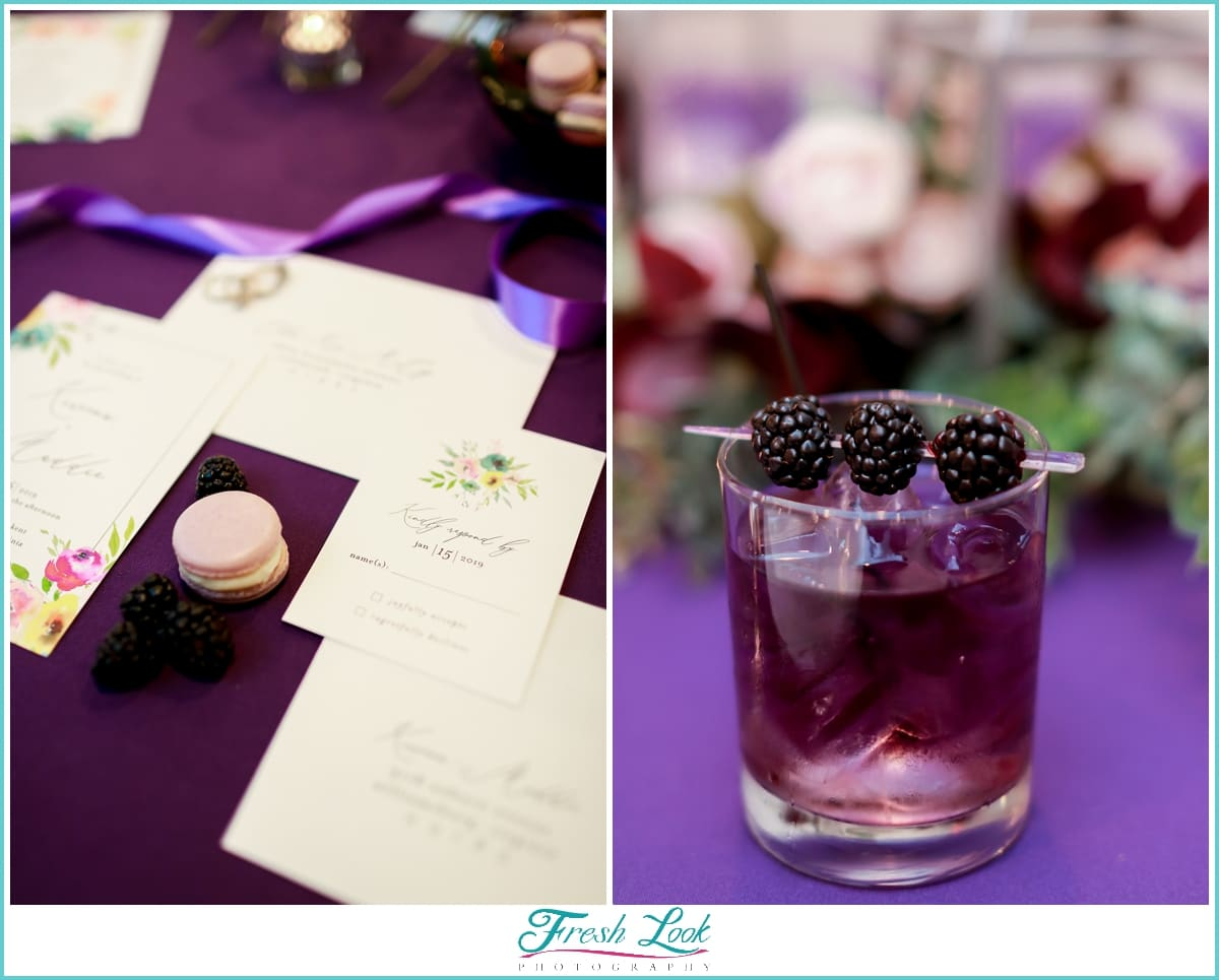 purple drink and wedding stationery