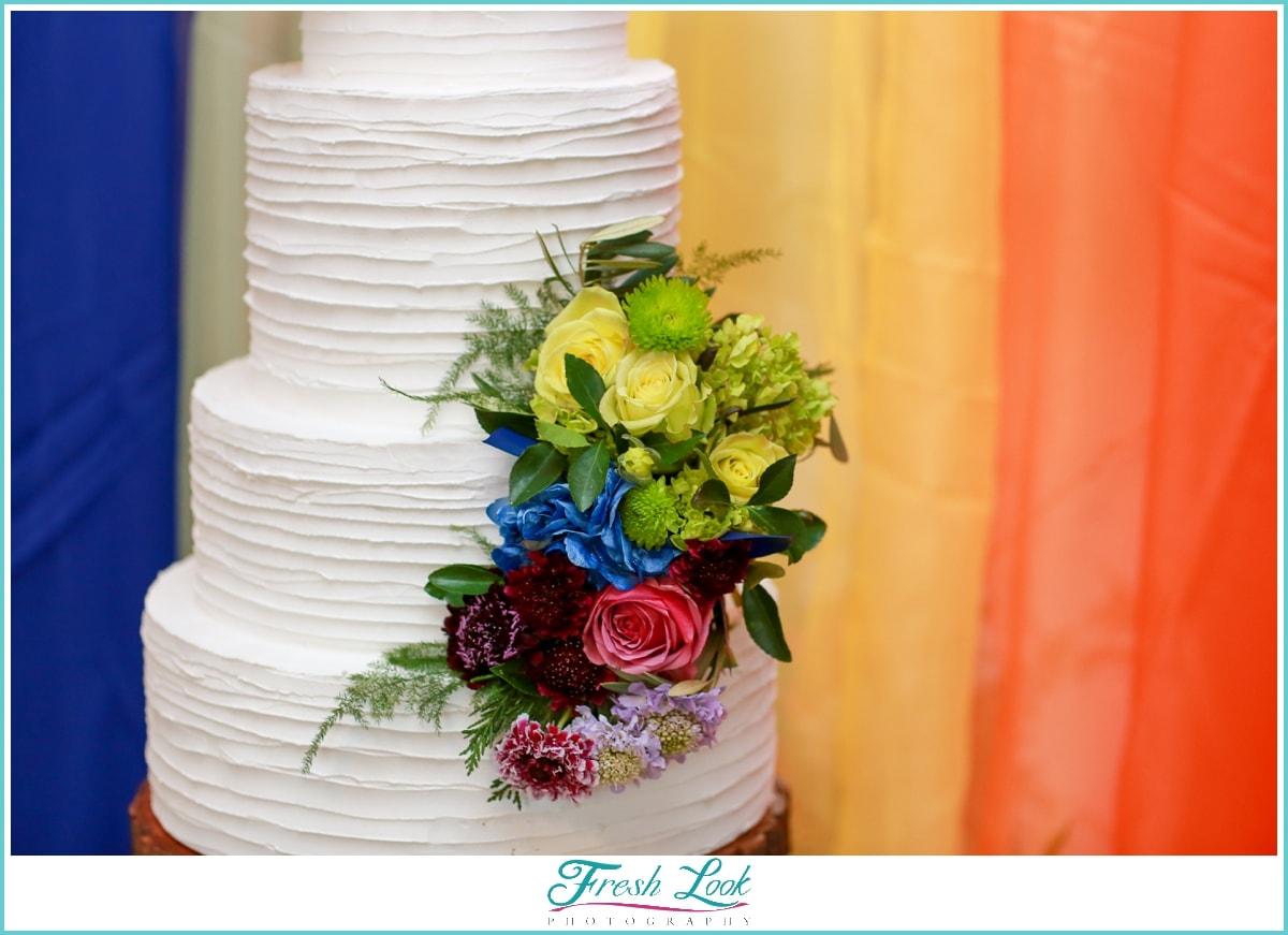 beautiful rainbow wedding cake