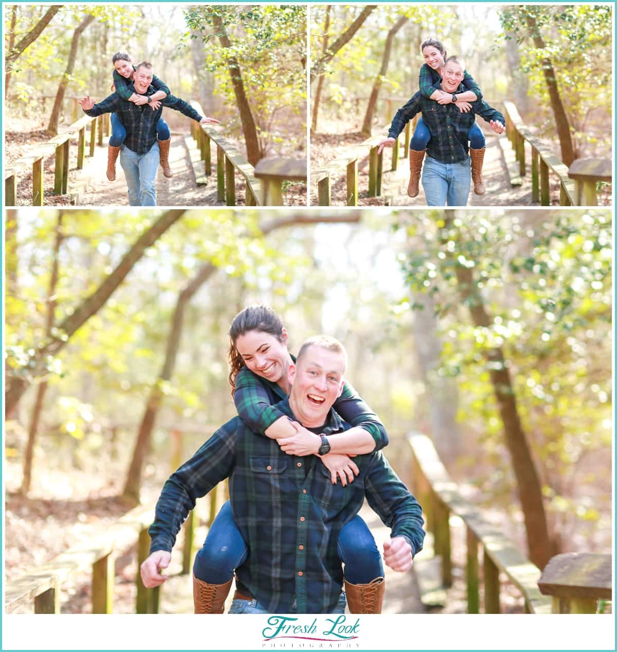being goofy at the engagement session