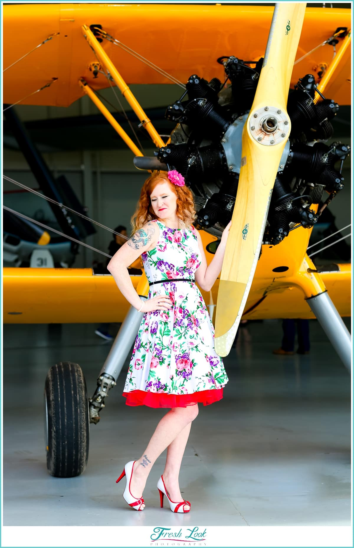 pin up girl with vintage planes