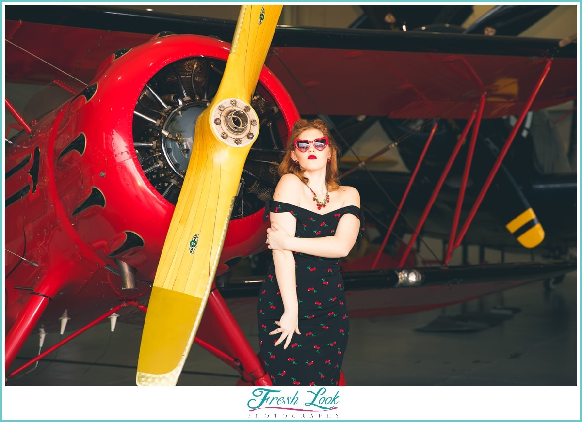 vintage vixen with world war plane
