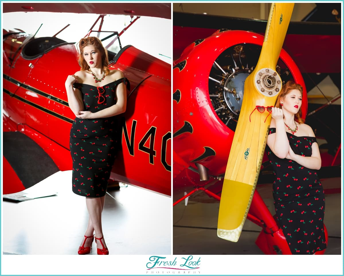pinup models with vintage planes