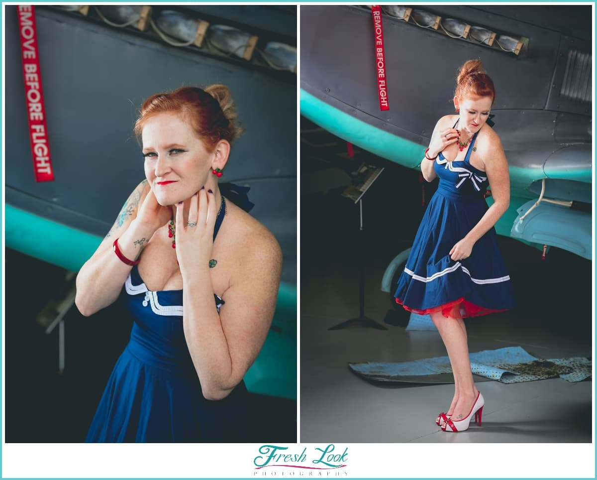 vintage pinup model with navy dress