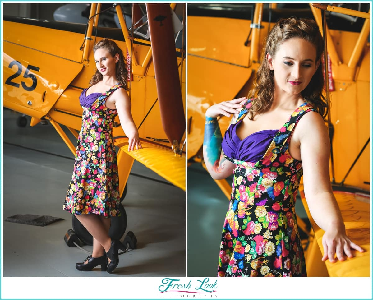 pinup model wearing retro dress