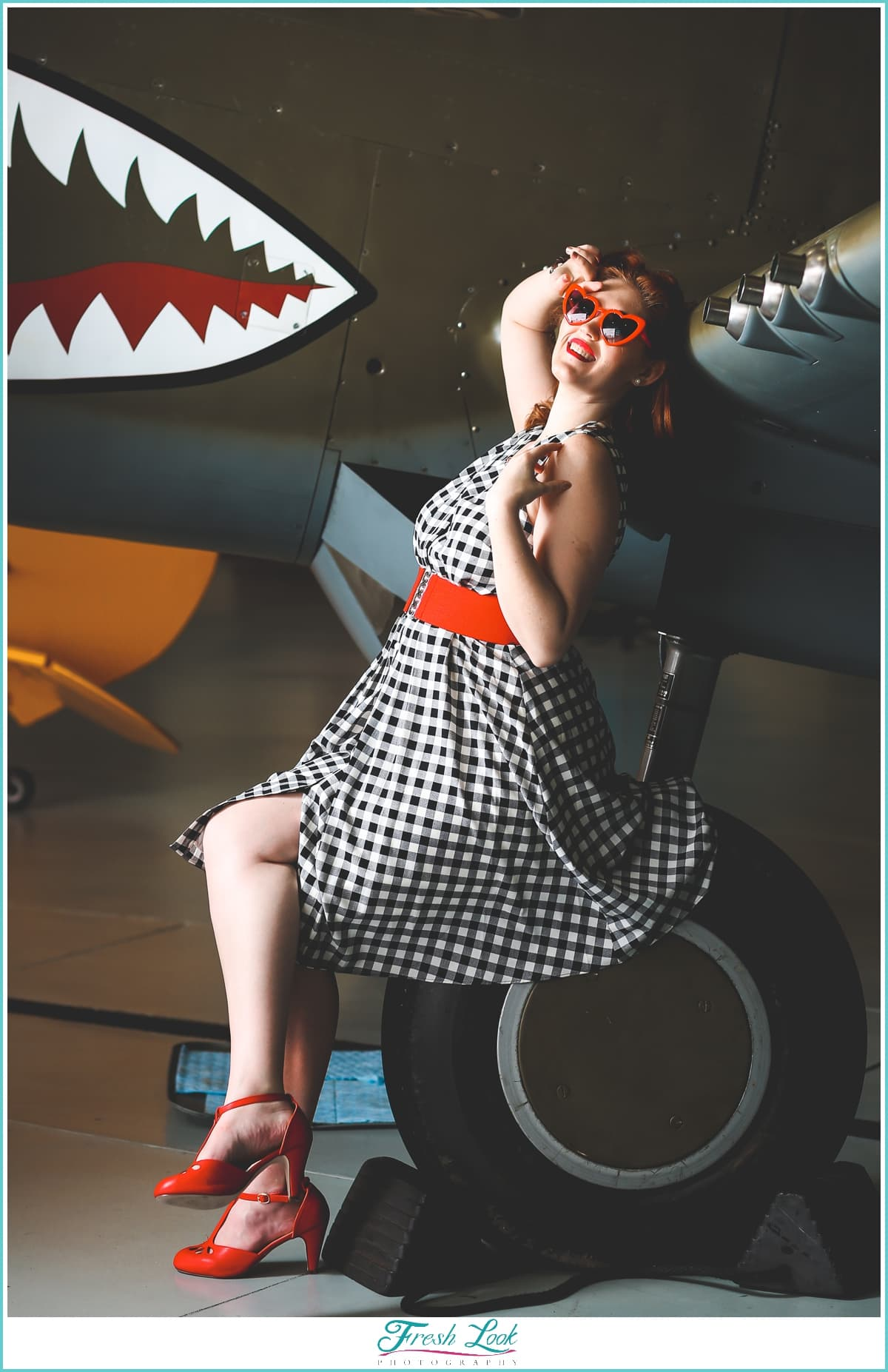 pin up girl on vintage plane