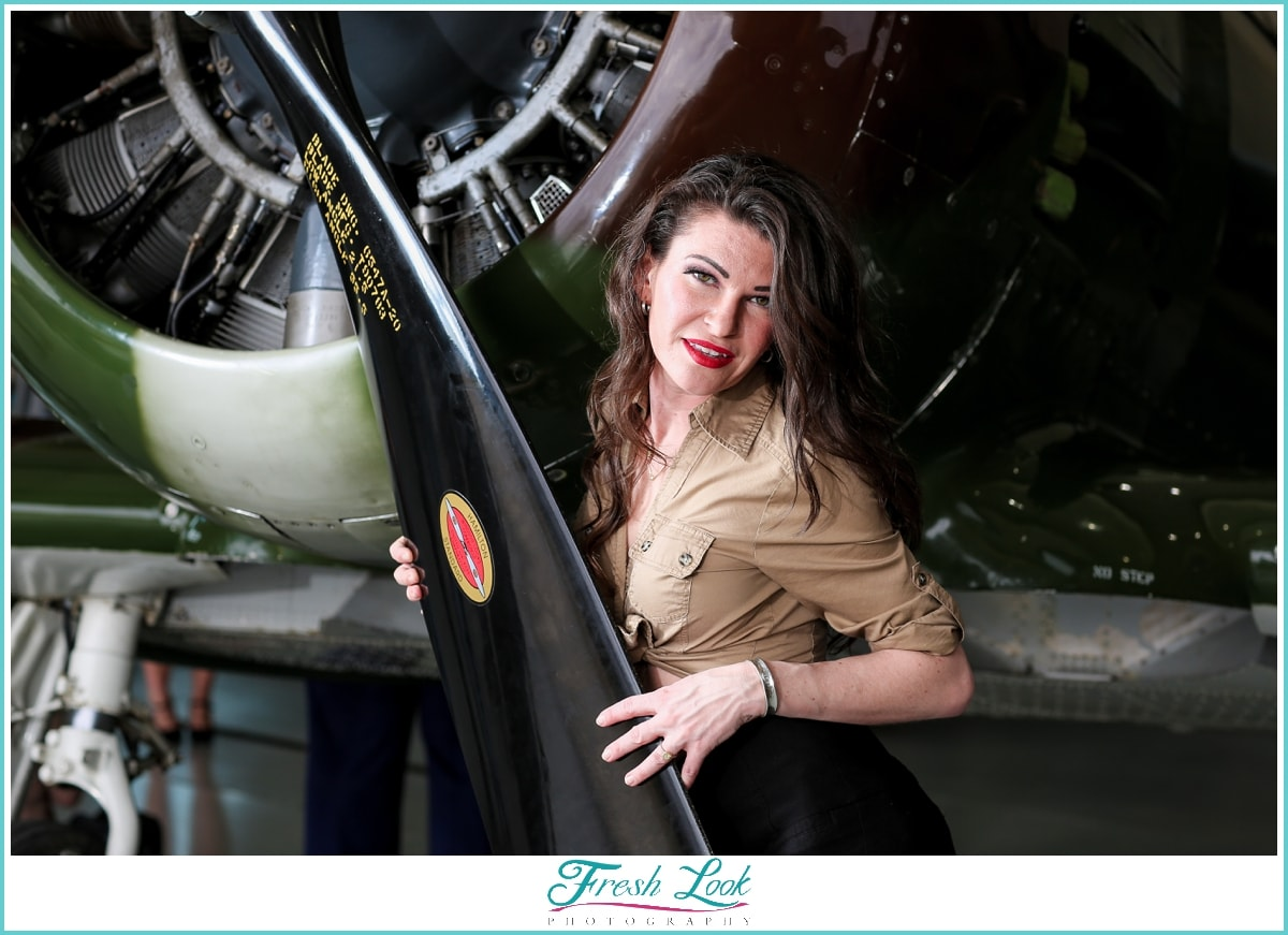 pinup model with World War I plane
