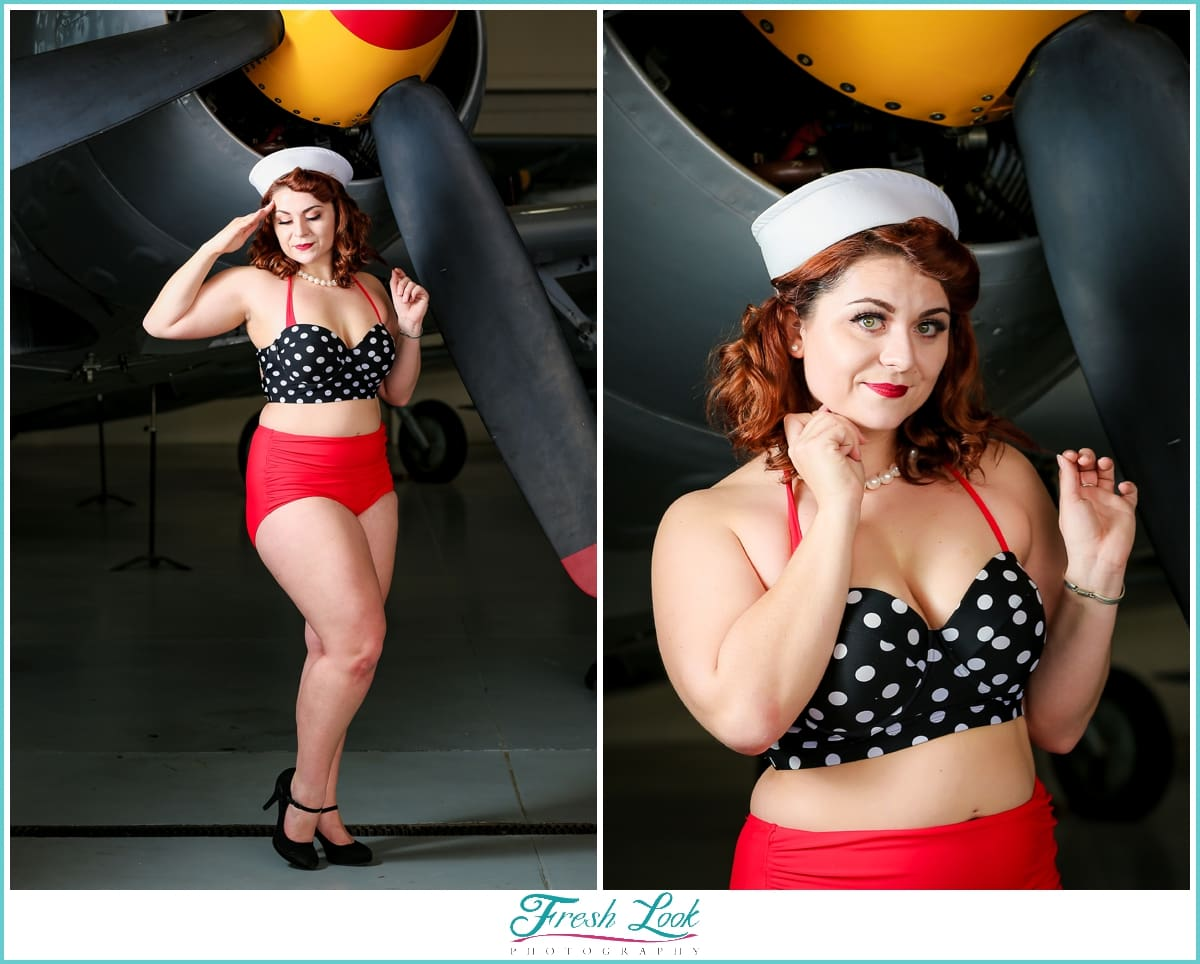vintage bathing suit on pinup model