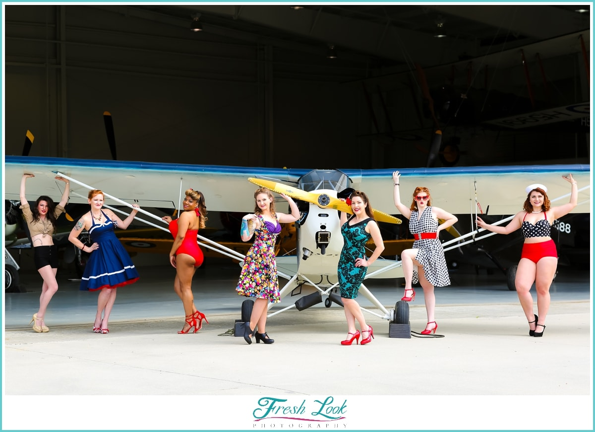 pin up ladies at Military Aviation Museum