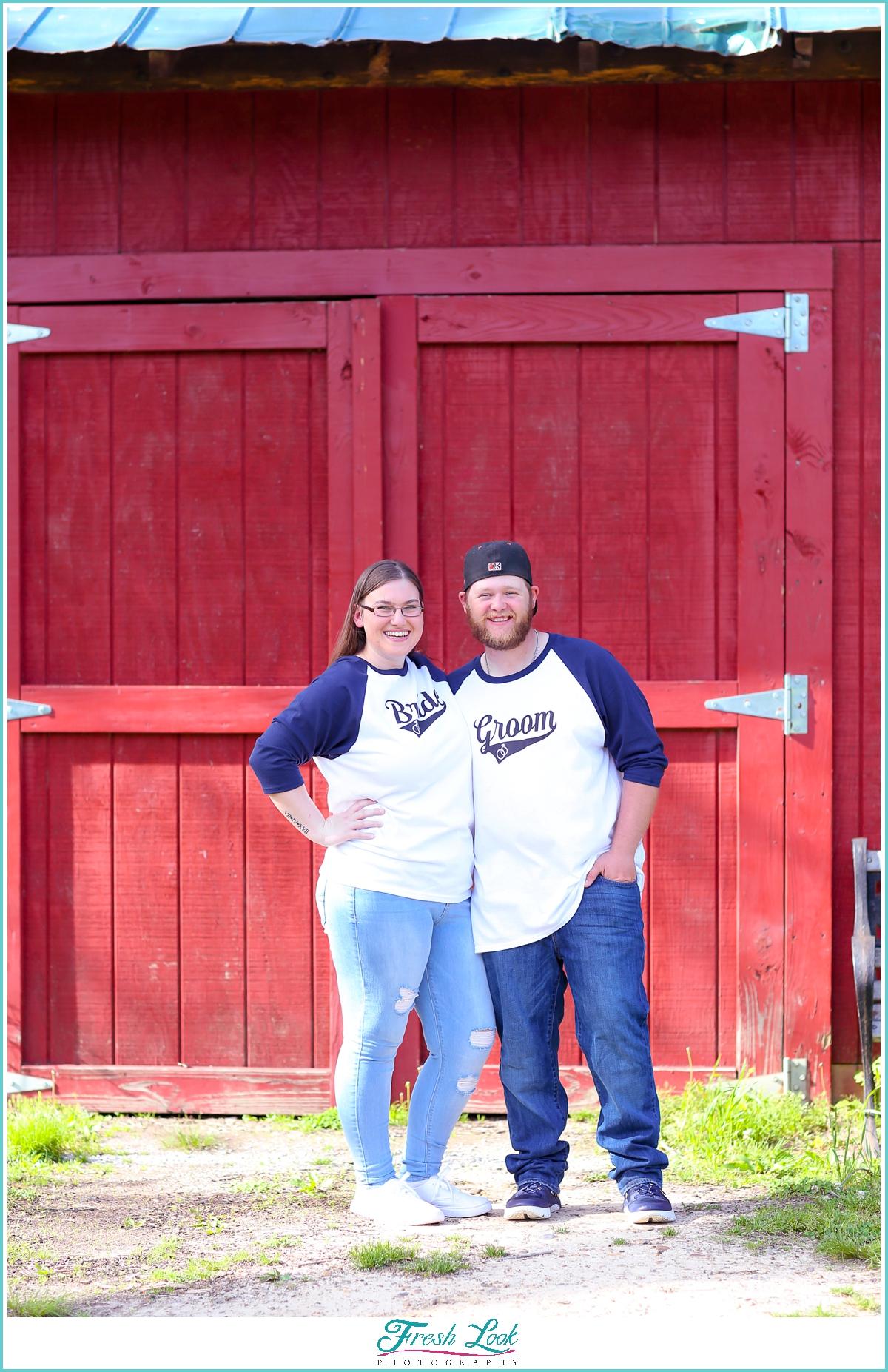 Bride and groom baseball teeshirts
