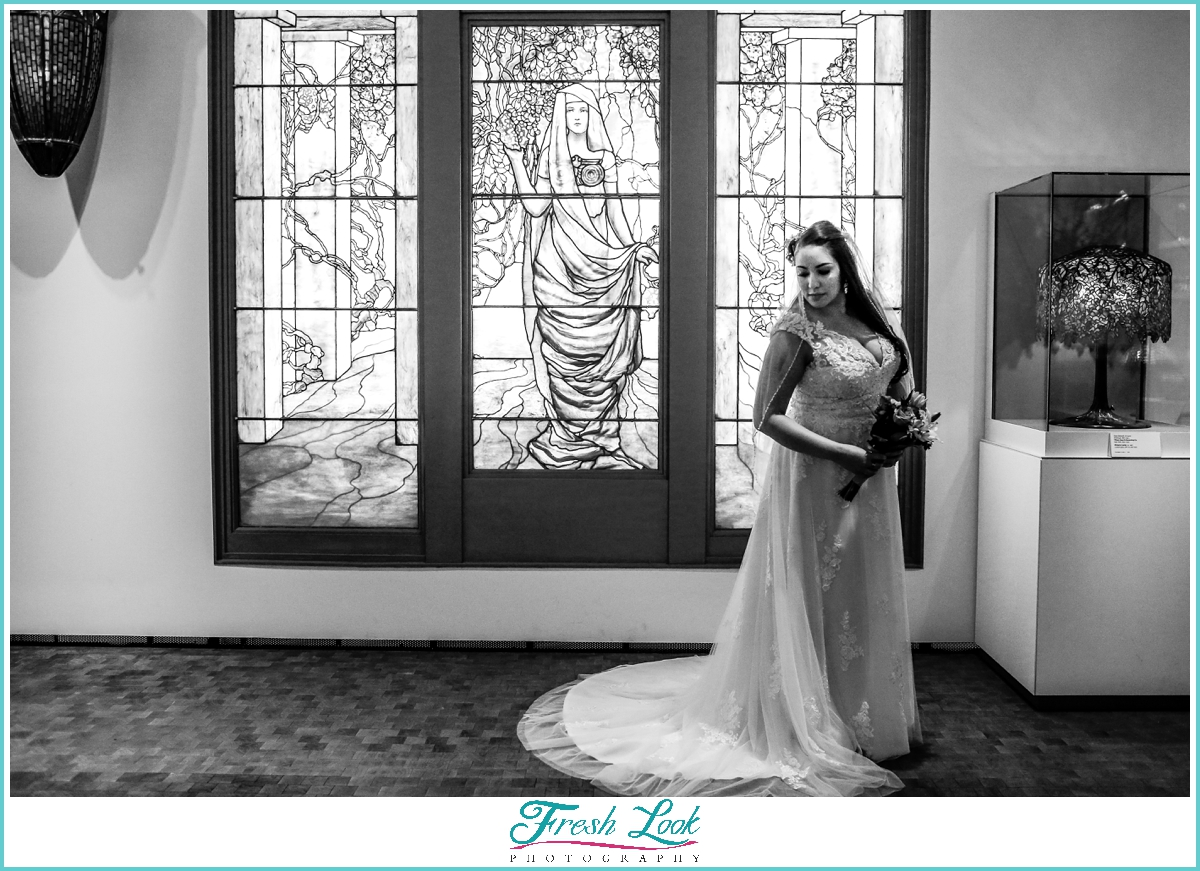 Stained Glass bridal photos
